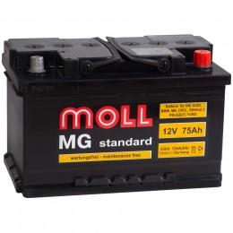 Автомобильный аккумулятор MOLL MG 75SR (низкий) 720А обратная полярность 75 Ач (278x175x175) фото
