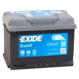 Автомобильный аккумулятор EXIDE Excell EB602 (60R) низкий 540А обратная полярность 60 Ач (241x175x175) фото