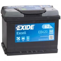 Автомобильный аккумулятор EXIDE Excell EB620 (62R) 540А обратная полярность 62 Ач (241x175x190) фото