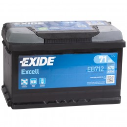 Автомобильный аккумулятор EXIDE Excell EB712 (71R) низкий 670А обратная полярность 71 Ач (276x175x175) фото