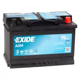 EXIDE Start-Stop AGM EK700 (70R) 760А обратная полярность 70 Ач (278x175x190)