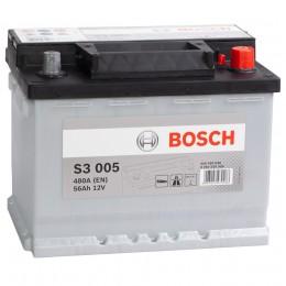 Автомобильный аккумулятор BOSCH S3 005 (56R) 480А обратная полярность 56 Ач (242x175x190) фото