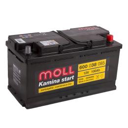 Автомобильный аккумулятор MOLL Kamina Start 100R 850А обратная полярность 100 Ач (353x175x190) фото