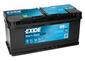 EXIDE Start-Stop AGM EK1050 (105R) 950А обратная полярность 105 Ач (394x175x190)