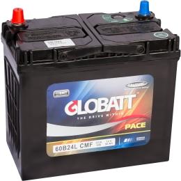 Globatt 60B24L (50R) с переходниками 500А обратная полярность 50 Ач (236x128x220)