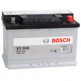 Автомобильный аккумулятор BOSCH S3 008 (70R) 640А обратная полярность 70 Ач (278x175x190) фото