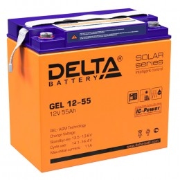Delta GEL 12-55 универсальная полярность 55 Ач (228x137x214)