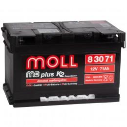 Автомобильный аккумулятор MOLL M3plus 71R (низкий) 620А обратная полярность 71 Ач (278x175x175) фото