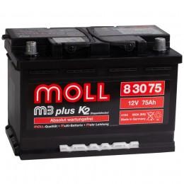 Автомобильный аккумулятор MOLL M3plus 75R 680А обратная полярность 75 Ач (276x175x190) фото