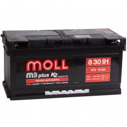 MOLL M3plus 91R (низкий) 800А обратная полярность 91 Ач (354x175x175)