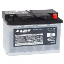 Автомобильный аккумулятор ZUBR ORIGINAL EQUIPMENT 74R 840А обратная полярность 74 Ач (278x175x190) фото