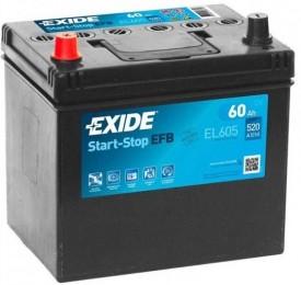 EXIDE Start-Stop EFB EL605 (60L) 520А прямая полярность 60 Ач (232x173x225)