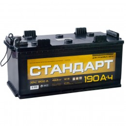 Автомобильный аккумулятор СТАНДАРТ 190 под болт 1200А прямая полярность 190 Ач (513x223x223) фото