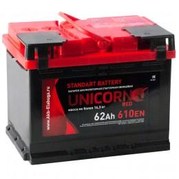 Автомобильный аккумулятор UNICORN RED 62R 610А обратная полярность 62 Ач (242x175x190) фото