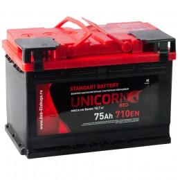 Автомобильный аккумулятор UNICORN RED 75L 710А прямая полярность 75 Ач (278x175x190) фото