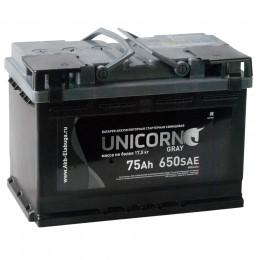 Автомобильный аккумулятор UNICORN GREY 75L 650А прямая полярность 75 Ач (278x175x190) фото