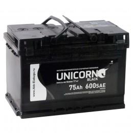 Автомобильный аккумулятор UNICORN BLACK 75R 600А обратная полярность 75 Ач (278x175x190) фото