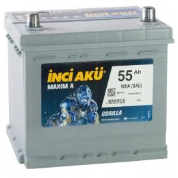 INCI AKU Maxim A 55R 500А Обратная полярность 55 Ач (205x170x205).